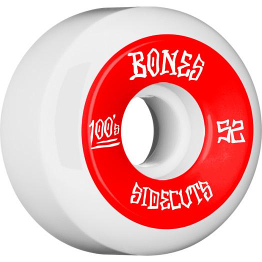 BONES WHEELS 100 #2 Skateboard Wheel 52mm 4pk White V5 Sidecut