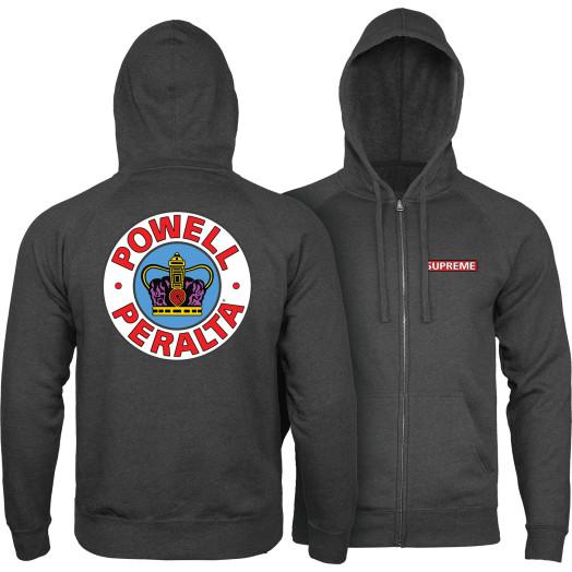 Powell Peralta Supreme Hooded Zip Sweatshirt - Charcoal Heather