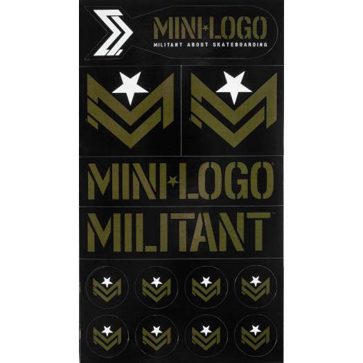 "Mini Logo Sticker MILITANT ""2"" Green/Black Font single sticker"