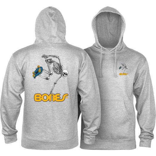 Powell Peralta Sk8Board Skeleton Hooded Sweatshirt Mid Weight Gray Heather
