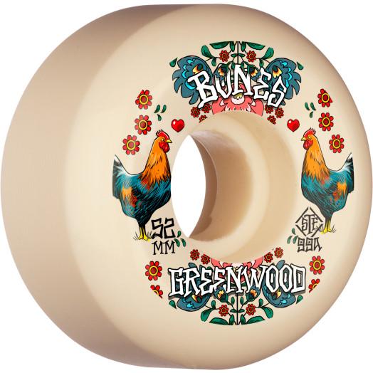BONES WHEELS PRO STF Skateboard Wheels Greenwood Découpe 52mm V5 Sidecut 99a 4pk