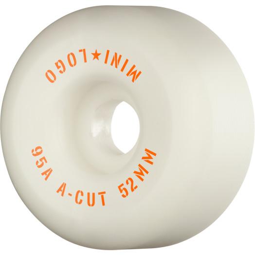 "Mini Logo Skateboard Wheels A-cut ""2"" 52mm 95A White 4pk"