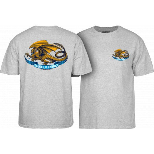 Powell Peralta Oval Dragon YOUTH T-shirt - Athletic Heather Gray