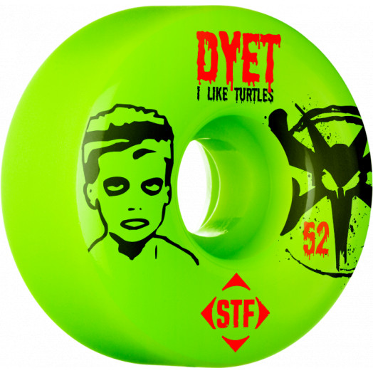 BONES WHEELS STF Pro Dyet Turtles 52mm wheels 4pk green