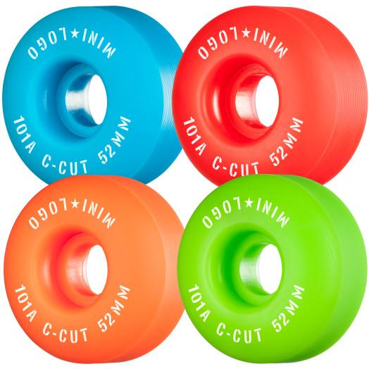 "Mini Logo Skateboard Wheels C-cut ""2"" 52mm 101A Assorted 4pk"