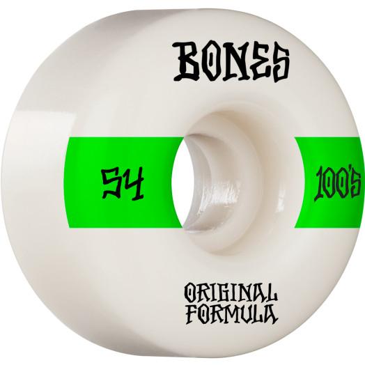 BONES WHEELS OG Formula Skateboard Wheels 100 #14 54mm V4 Wide 4pk White