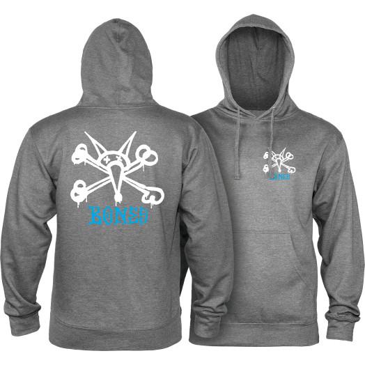 Powell Peralta Rat Bones Mid Weight Hooded Sweatshirt - Gunmetal Heather
