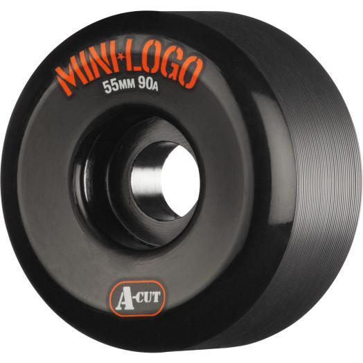 Mini Logo Skateboard Wheels A-cut 55mm 90A Black 4pk