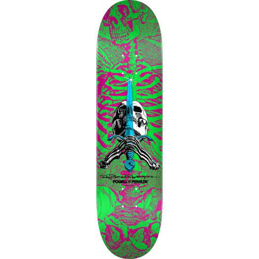 Powell Peralta Skull and Sword Skateboard Deck Pink/Green - Shape 247 - 8 x 31.45