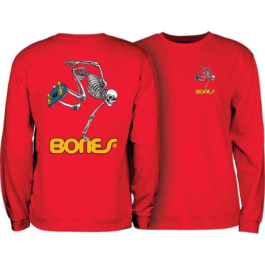 Powell Peralta Skateboard Skeleton Crew Sweatshirt Mid Weight Red