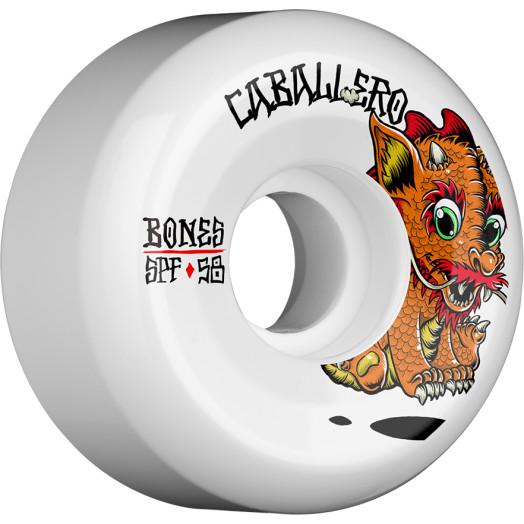 BONES WHEELS SPF Pro Caballero Baby Dragon Skateboard Wheels P5 Sidecut 58mm 84B 4pk White