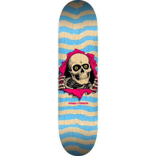 Powell Peralta Ripper Skateboard Deck Natural Blue - Shape 248 - 8.25 x 31.95