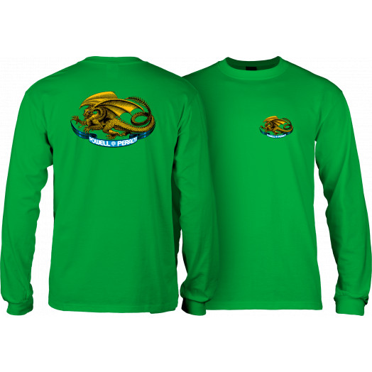 Powell Peralta Oval Dragon YOUTH L/S - Kelly Green
