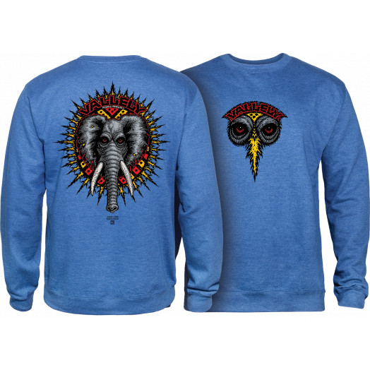 Powell Peralta Mike Vallely Elephant Midweight Crewneck Sweatshirt - Royal Heather