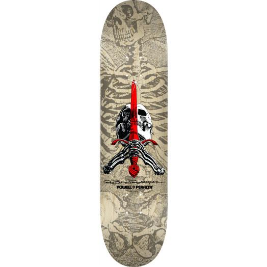 Powell Peralta Skull and Sword Skateboard Deck Gray 244 K20 - 8.5 x 32.08