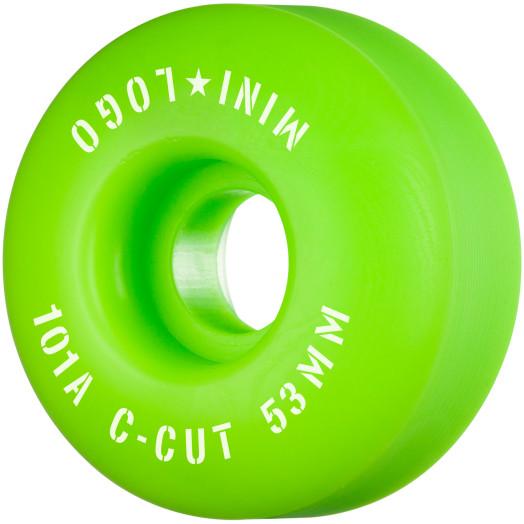 "Mini Logo Skateboard Wheels C-cut ""2"" 53mm 101A Green 4pk"