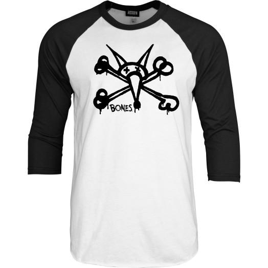 BONES WHEELS Vato Grande Raglan 3/4 Sleeve Shirt -Black/White