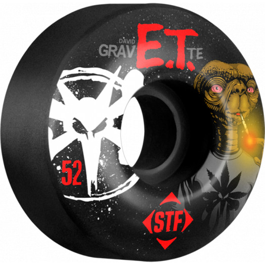 BONES WHEELS STF Pro Gravette Burn ET 52mm wheels 4pk Black