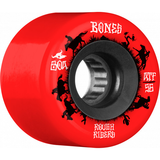 BONES WHEELS ATF Rough Rider Skateboard Wheels Wranglers 56mm 80a 4pk Red