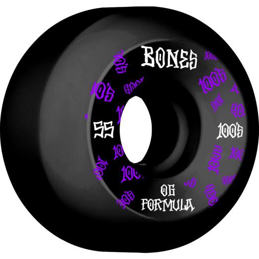 BONES WHEELS OG Formula Skateboard Wheels 100 #3 55mm V5 Sidecut 4pk Black
