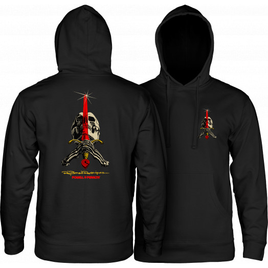 Powell Peralta Skull & Sword Hooded Pullover - Black