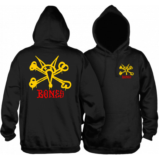 Powell Peralta Vato Rat Hooded Sweatshirt Mid Weight Black w/ Yellow Logo
