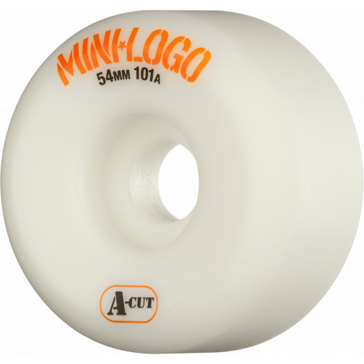 Mini Logo Skateboard Wheels A-cut 54mm 101A White 4pk