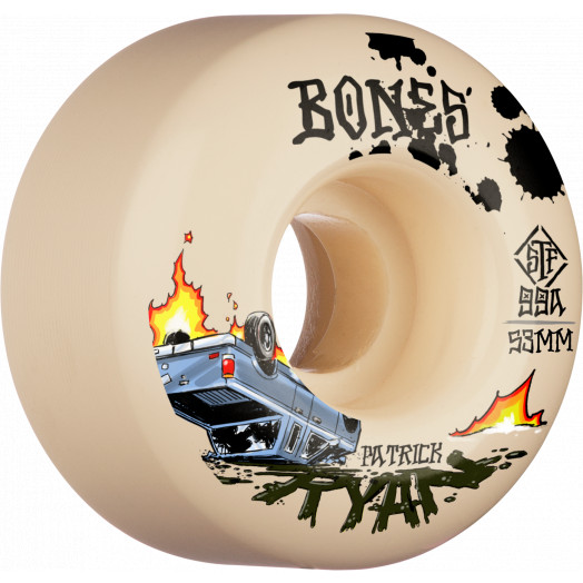 BONES WHEELS PRO STF Skateboard Wheels Ryan Crash & Burn 53mm V4 Wide 99A 4pk