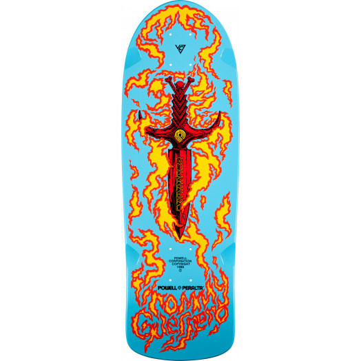 Bones Brigade® Tommy Guerrero Flaming Dagger Reissue Skateboard Deck Light Blue - 9.6 x 29.18