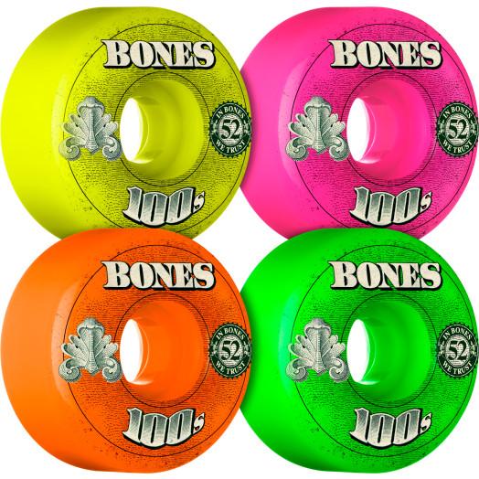 BONES WHEELS 100's OG Formula 52x34 V1 Skateboard Wheels 100a 4pk Asstd