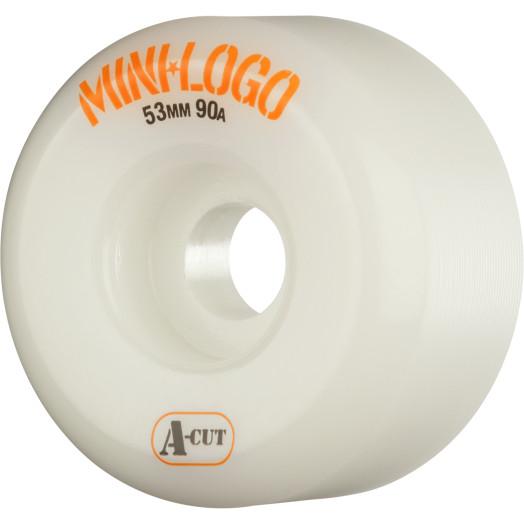 Mini Logo Skateboard Wheels A-cut 53mm 90A White 4pk