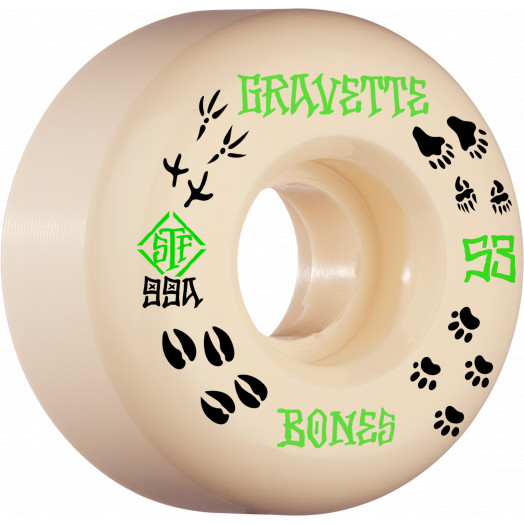 BONES WHEELS PRO STF Skateboard Wheels Gravette Trapper 53mm V2 Locks 99a 4pk