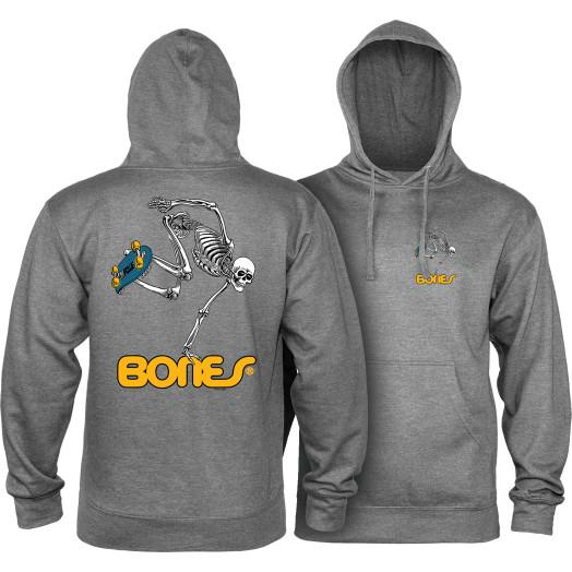 Powell Peralta Skateboarding Skeleton Midweight Hooded Sweatshirt - Gunmetal Heather
