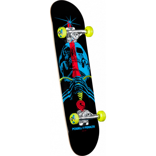 Powell Peralta Blacklight Skull & Sword Green Complete Skateboard - 7.5 x 31.375