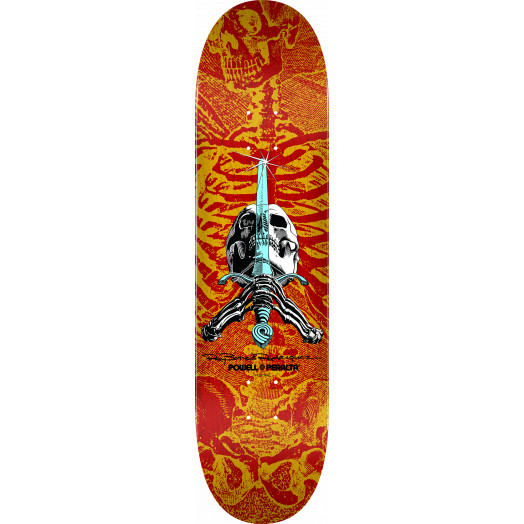 Powell Peralta Rodriguez Skull And Sword Blem Skateboard Deck Red/Yellow - 8 x 31.45