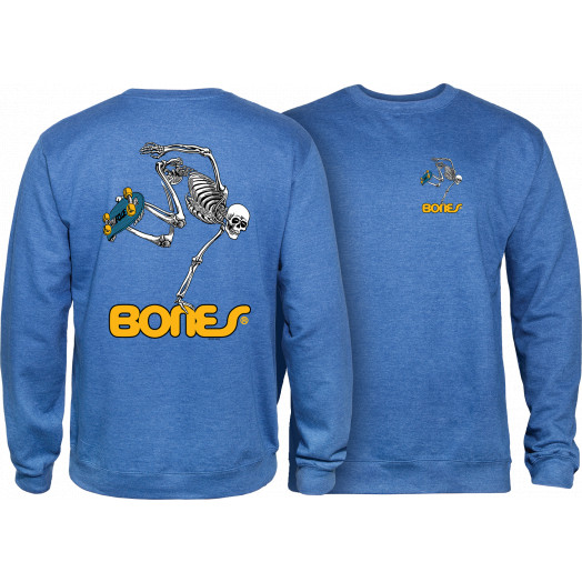 Powell Peralta Skateboard Skeleton Crew Sweatshirt Mid Weight Royal Heather