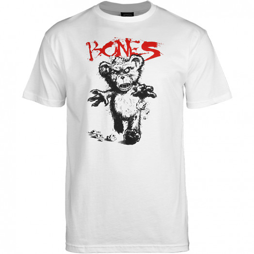 BONES WHEELS Deady Bear T-shirt - White