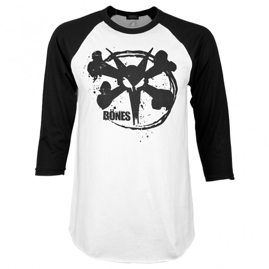 BONES WHEELS Rocker 3/4 Sleeve Raglan - Black/White