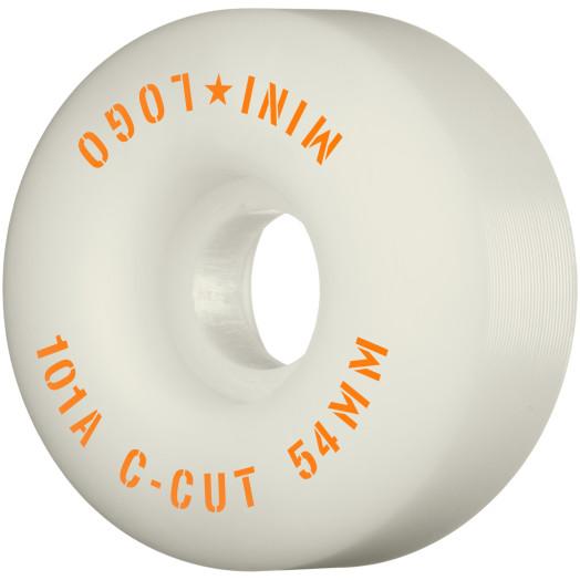 "Mini Logo Skateboard Wheels C-cut ""2"" 54mm 101A White 4pk"