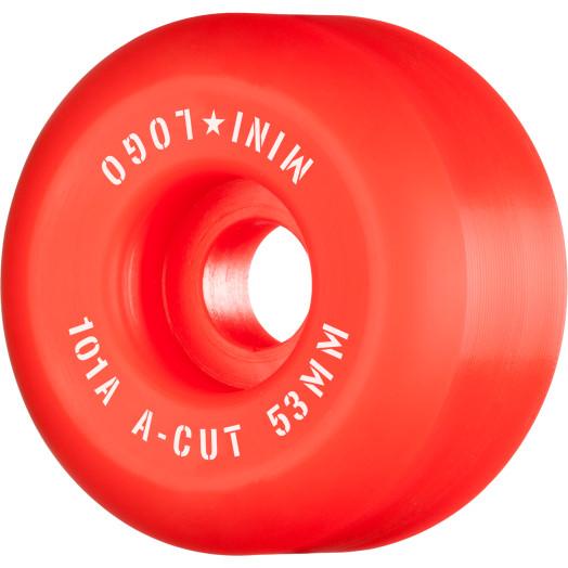 """Mini Logo Skateboard Wheels A-cut """"2"""" 53mm 101A Red 4pk"""