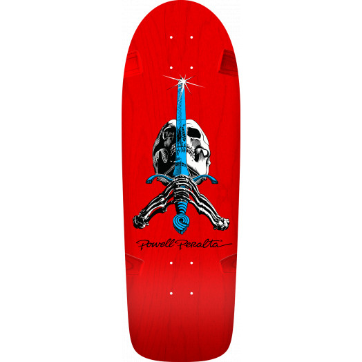 Powell Peralta OG Rodriguez Skull and Sword Red Skateboard Deck - Blem - 10 x 30