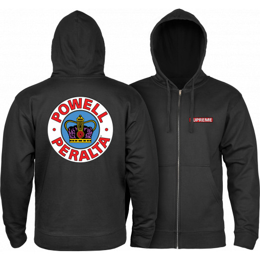 Powell Peralta Hooded Zip Sweatshirt Supreme Logo Black
