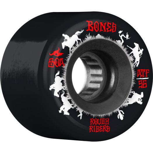 BONES WHEELS ATF Rough Rider Skateboard Wheels Wranglers 56mm 80a 4pk Black