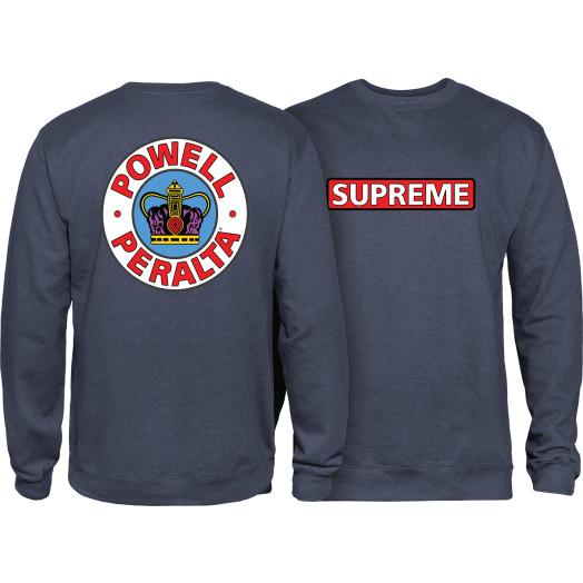 Powell Peralta Supreme Midweight Crewneck Sweatshirt - Navy Heather
