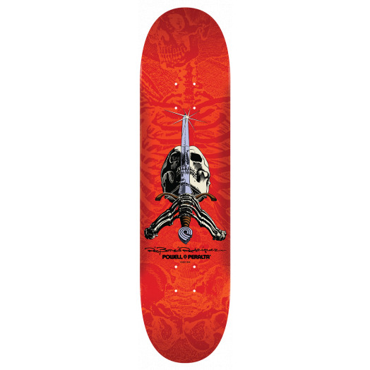 Powell Peralta Rodriguez Skull and Sword Skateboard Blem Blem Deck red - 8.25 x 31.95