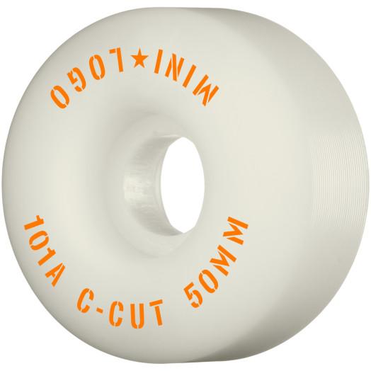 "Mini Logo Skateboard Wheels C-cut ""2"" 50mm 101A White 4pk"