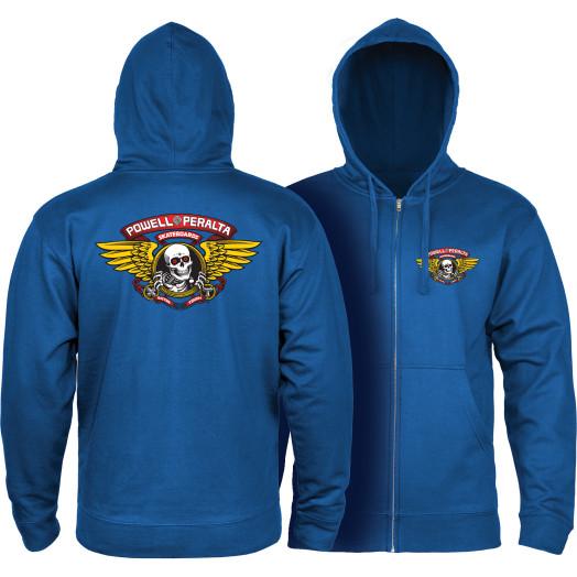 Powell Peralta Winged Ripper Hooded Zip Sweatshirt - Royal Blue
