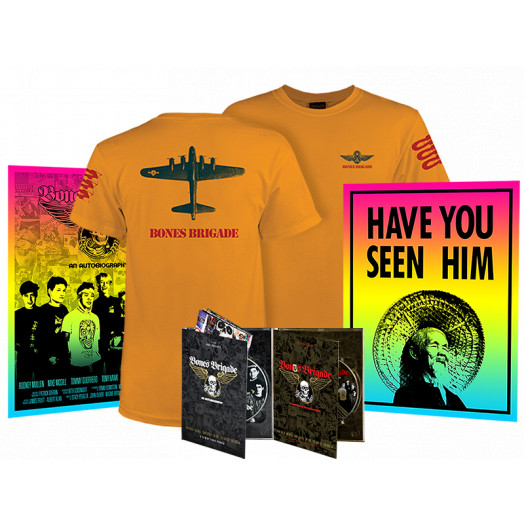 BONES BRIGADE: An Autobiography Blu-Ray/DVD + Bonus Brigade DVD + Gold Bomber T-Shirt  + Colby Posters Combo