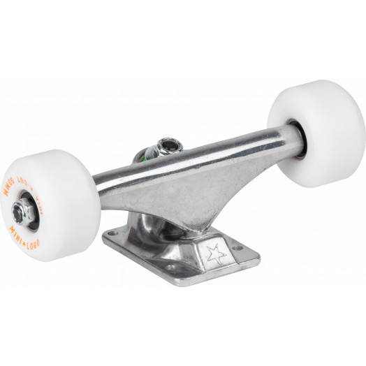 "Mini Logo 7.13"" Raw Trucks + ML Bearings + A-cut 53mm x 90a White Wheels (Set of 2)"