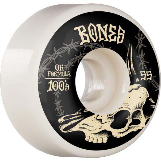 BONES WHEELS OG Formula Skateboard Wheels Desert Skull 55mm V4 Wide 4pk White